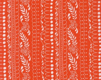 100% Cotton Fabric, Sweet Daisy Lane in Coral - Daisy Paisley by Michael Miller