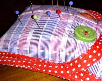 Groovy HANDMADE Large PIN CUSHION Made From Repurposed Shirt Cuffs!