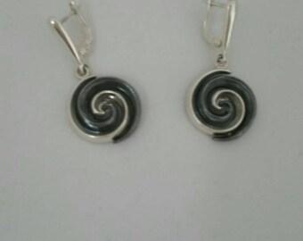 earrings silver oxidized