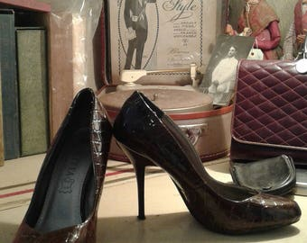 vintage Brown patent Croc T36 pinup shoes