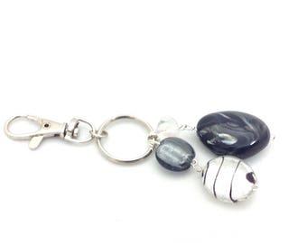 Black and silver beaded keychain keyring bagcharm