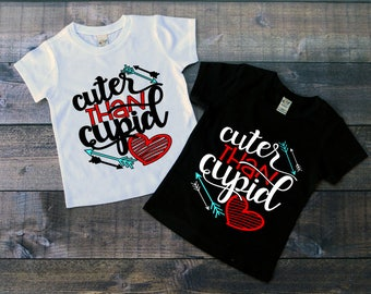 Children's Valentine's Day Tee Shirt, Cuter Than Cupid T-Shirt, Black or White Tee, Infants, Toddler, Youth, Boys, Girls Valentine Shirt