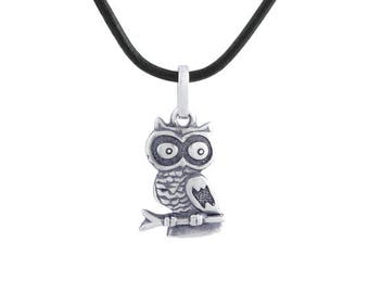Sterling Silver Owl Pendant, Silver Owl Necklace