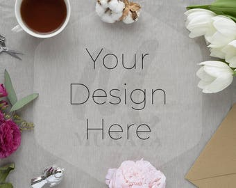 Feminine, Rustic, Styled Desk Scene, Grey Linen Cloth, Flowers, Social Branding, Pink, White