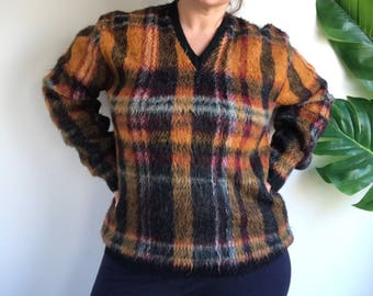 Vintage Orange and Black Plaid Tartan Plus Size Wool Acrylic Blend Pullover Sweater Size Large
