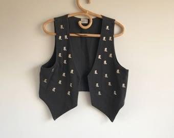 Vintage Women's Black Cowboy Boot Vest cesucci