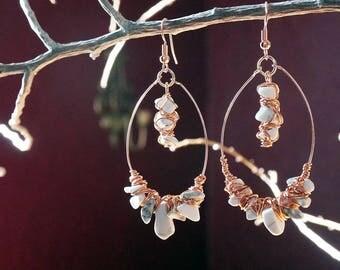 Howlite & Copper Earrings.  Boho Handmade Earrings. Boho Earrings. Handmade Earrings. Artisan. Artisan Earrings.