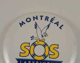 Vintage SOS Labyrinthe pinback button