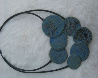 Turquoise-Blue ceramic necklace with adjustable necklace