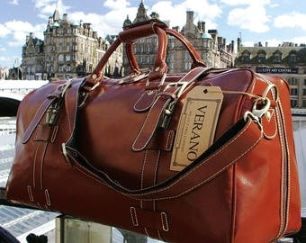 New Genuine Italian Leather Duffle Weekend Gym Travel Flight Cabin Sports Bag Holdall Rain Resistant Mens Birthday Gift Brown Verano