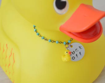 Rubber Duck Pendant - Snarky Gift  - Subversive Jewelry - Ironic Necklace - Turquoise Necklace - Beaded Necklace - Stamped Necklace