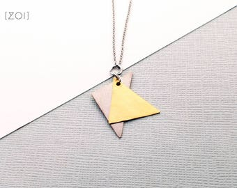 Hammered Silver and Brass Metal Triangle Necklace - Triangle shape boho rustic luxe geometric design