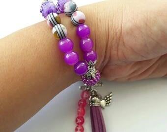Tasbih 33 Purple Handmade Crystal Tasbeeh Bracelet, Muslim Prayer Beads, Masnaha, Muslim Gifts, Islamic Gifts, Eid Gifts Tasbih Favors Hijab
