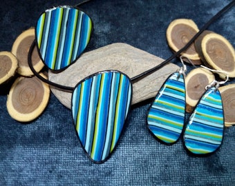 set pendant, ring and earrings in polymer clay
