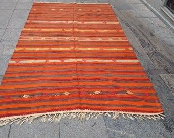 """Handmade kilim rug300x190cm 118""""x74"""",Turkish kilim rug,Anatolian kilim rug,vintage kilim rug,tribal kilim rug, Handmade kilim rug"""