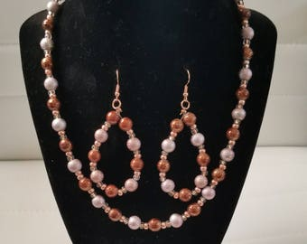 "16"" Beaded Necklace and Earring Set"