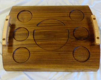 6 Cup Walnut Serving Tray