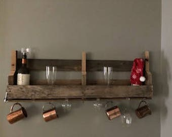 Handmade re-claimed pallet liquor shelf