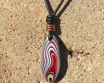 One of a Kind Fordite Detroit Agate Surfboard Necklace
