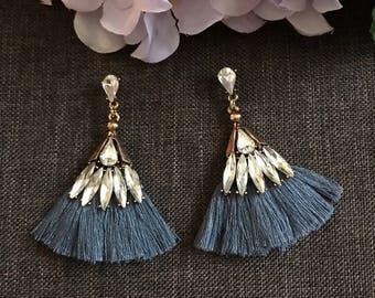 Grey tassel earrings, boho earrings, bohemian earrings, bohemian jewelry, crystal earrings, ethnic tribal earrings, bridesmaids gift, gift