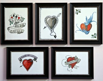 Gift. Art. Engagement, Wedding, Anniversary .Set of 5 Vintage inspired Love framed prints handmade *5 for price of 4* Cymraeg welsh cariad