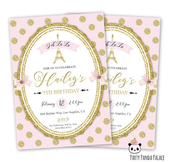 Paris birthday invitations pink and gold paris invitation like this item solutioingenieria Choice Image
