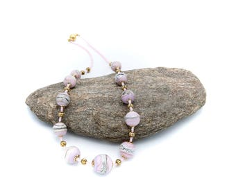 Beaded necklace glass Murano pink and ivory.