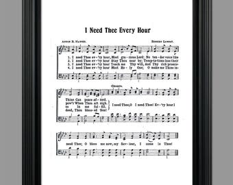 I Need Thee Every Hour Hymn Lyrics - Hymnal Art - Sheet Music- Home Decor - Inspirational Art - Gift - Instant Download - #HYMN-045