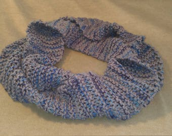 Gray and blue infinity scarf