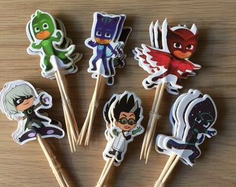 PJ Masks Cupcake Toppers Birthday Party Supplies