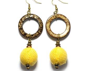 Orange Sisal Handmade Earrings