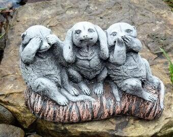 Stone Garden Ornament 3 Wise Meerkats Speak See Hear No Evil Statue Decor Gift