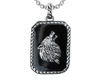 Sterling Silver Wolf Necklace Pendant on Black Enameled Background
