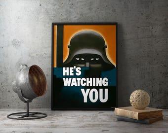 Printable Poster - WW1 Propaganda, wwi propaganda, german soldier poster, german soldier photo, ww1 helmet, wwi helmet, instant download
