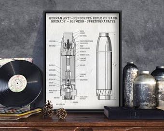 German Grenade Patent Print, WW2 Poster, gun collectibles, gun collectables, replica gun, gun lover decor, gun displayreplica gun decor, art