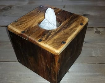 Reclaimed wood tissue box cover made with salvage hurricane wood