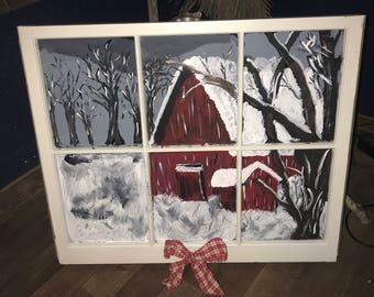 Hand painted winter scene window
