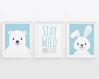 PRINTABLE Nursery Decor. Set of 3 Posters Baby Boy Room Wall Art. Blue Stay Wild and Cute, Bear and Bunny Digital Prints 5x7, 8x10, 11x14