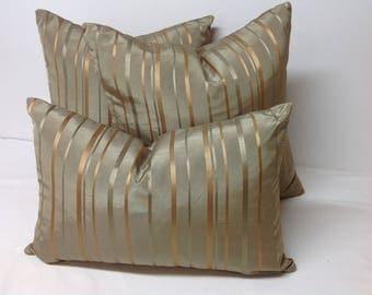 Decorative Pillow Cover, Throw Pillow, Accent Pillow, Stripe Pillows, Olive Green & Gold, Kidney Pillow, Lumbar Pillow, Bedding, Sofa Pillow