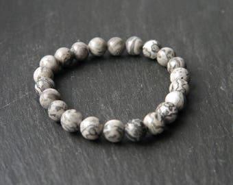 All Natural Frosted Zebra Net Stone | Stretch Cord Bracelet