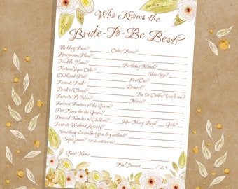 Who Knows The Bride Best, Pink And Green Floral, Instant Download, How Well Do You Know The Bride, Bridal Shower Printable Games