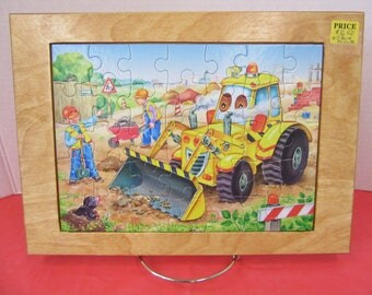 Funny Bulldozer Face Wood Framed Puzzle