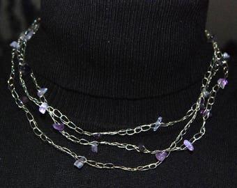 Halskette aus versilbertem Draht mit Amethyst, handgemacht - Bracelet of silver coated wire with Amethyst gemstone, handmade