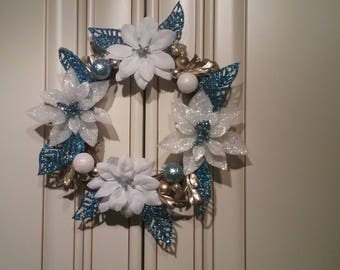 Door Wreath all seasons - lovely sparkling blue and white florals