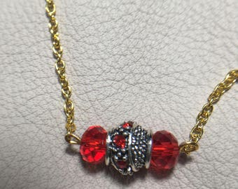 Red LampWork Beaded Necklace
