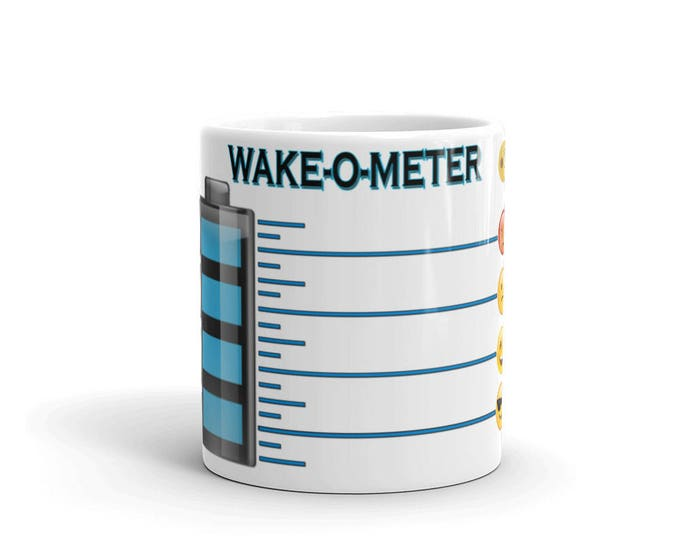 FUN, Emoji, Wake-o-Meter, Coffee Mugs, for Coffee Lovers, Gifts for Teachers, Mom or Dad, Friends, Co-workers, CoffeeShopCollection