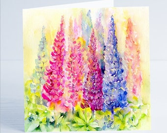 Lupins  Flower Greeting Card by Sheila Gill