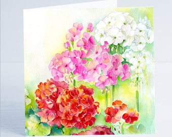 Geraniums Flower Greeting Card by Sheila Gill