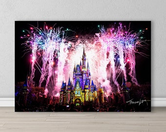 Fireworks Display at Cinderella's Castle, Walt Disney World, Orlando, Florida. Wall Decor, Gifts, Fine Art Photography, Canvas, Metal Prints