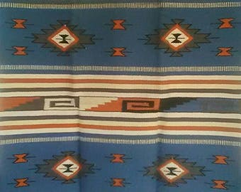 Mayan Blue Chief Design Area Rug, 100% Wool, 4' by 6'